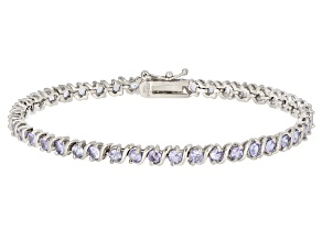 Pre-Owned Blue Tanzanite Rhodium Over Silver bracelet 4.62ctw
