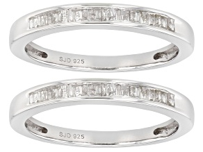 Pre-Owned White Diamond Rhodium Over Sterling Silver Set of 2 Bands Ring 0.33ctw