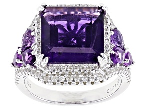 Pre-Owned Purple Amethyst Rhodium Over Silver Ring 5.84ctw