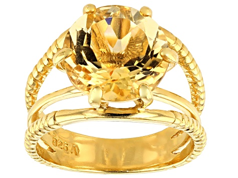 Pre-Owned Citrine 18K Yellow Gold Over Sterling Silver Ring 5.00ctw