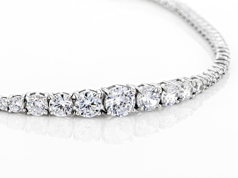 Pre-Owned White Cubic Zirconia Rhodium Over Sterling Silver Tennis Bracelet 9.21ctw