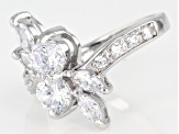 Pre-Owned White Cubic Zirconia Rhodium Over Sterling Silver Ring 2.95ctw