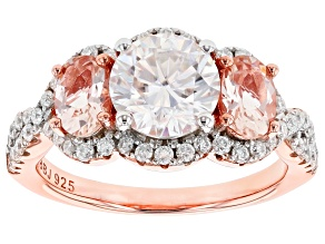 Pre-Owned Moissanite And Morgainite 14k Rose Gold Over Silver Ring 2.00ctw DEW