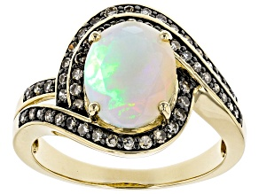 Pre-Owned Multi Color Ethiopian Opal 14k Yellow Gold Ring 1.74ctw