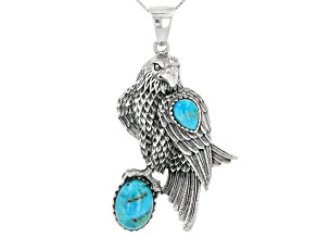 Pre-Owned Turquoise Sterling Silver Eagle Enhancer With Chain