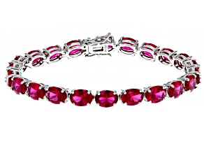 Pre-Owned Red Lab Created Ruby Rhodium Over Silver Bracelet 26.13ctw