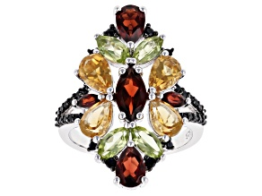 Pre-Owned Red Garnet Rhodium Over Silver Ring 3.95ctw
