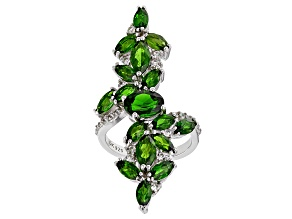 Pre-Owned Green Chrome Diopside Rhodium Over Silver Ring 5.86ctw