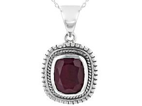 Pre-Owned Red Indian Ruby Sterling Silver Pendant With Chain 4.00ct