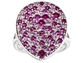 Pre-Owned Pink Cubic Zirconia and Pink Lab Created Sapphire Rhodium Over Silver Ring 3.69ctw