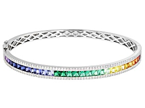 Pre-Owned Multicolor Cubic Zirconia Rhodium Over Sterling Silver Bracelet 5.54ctw