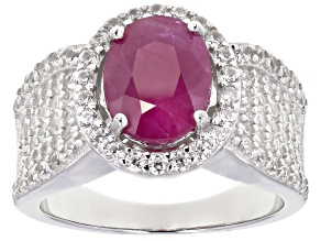 Pre-Owned Burma Ruby Rhodium Over Sterling Silver Ring 4.50ctw