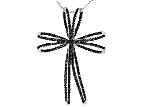 Pre-Owned Black Spinel Rhodium Over Sterling Silver Cross Pendant With Chain 1.79ctw