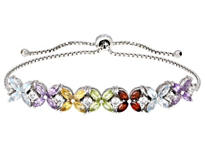 Pre-Owned Multi-gem rhodium over silver bolo bracelet 4.76ctw