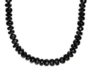Pre-Owned Black Spinel Rhodium Over Sterling Silver Necklace 340.00ctw
