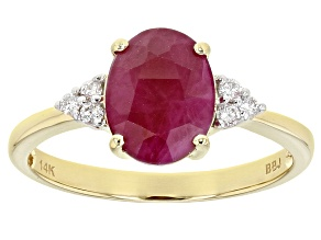 Pre-Owned Red Ruby 14k Yellow Gold Ring 1.86ctw
