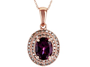 Pre-Owned Grape Color Garnet 10k Rose Gold Pendant With Chain 1.38ctw