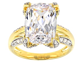 Pre-Owned White Cubic Zirconia 18k Yellow Gold Over Sterling Silver Ring 10.94ctw