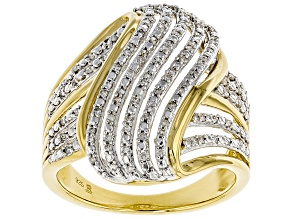 Pre-Owned Engild™ White Diamond 14k Yellow Gold Over Sterling Silver Ring 0.25ctw