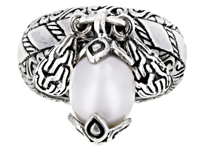 Pre-Owned White Cultured Freshwater Pearl Silver Charm Ring