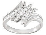 Pre-Owned White Cubic Zirconia Rhodium Over Sterling Silver Ring 1.37ctw