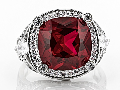 Pre-Owned Lab Created Ruby And White Cubic Zirconia Rhodium Over Sterling Silver 10.13CTW