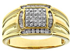 Pre-Owned White Diamond 14k Yellow Gold Over Sterling Silver Gents Ring 0.25ctw