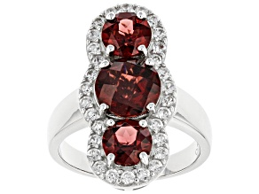 Pre-Owned Garnet Rhodium Over Sterling Silver Ring 4.71ctw