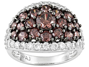Pre-Owned brown and white cubic zirconia rhodium over sterling silver ring 5.35ctw