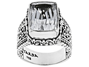 Pre-Owned White Quartz Silver Ring