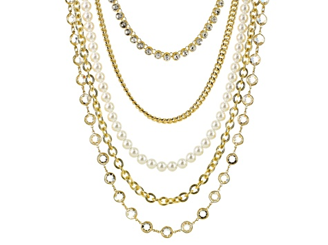 Pre-Owned White Crystal Pearl Simulant Gold Tone Multi Row Necklace