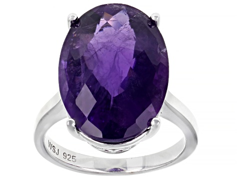 Pre-Owned Purple amethyst rhodium over silver solitaire ring 10.62ct