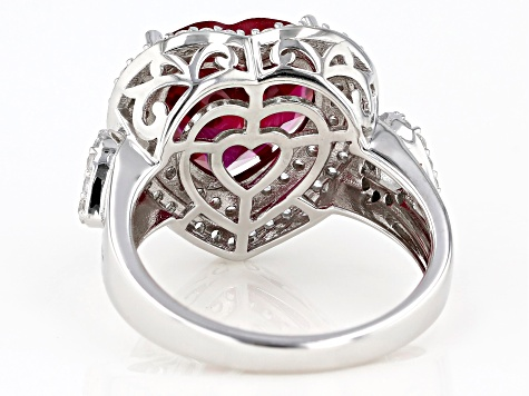 Pre-Owned Red Lab Created Ruby Rhodium Over Silver Ring 7.38ctw