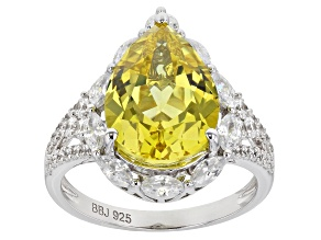Pre-Owned Lab Created Yellow Sapphire and White Cubic Zirconia Rhodium Over Sterling Silver Ring 8.3