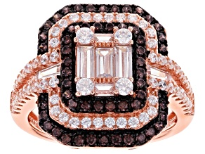 Pre-Owned Brown And White Cubic Zirconia 18K Rose Gold Over Sterling Silver Ring 2.71ctw