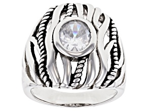 Pre-Owned White Cubic Zirconia Rhodium Over Sterling Silver Ring 3.09ctw
