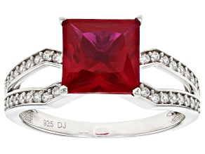 Pre-Owned Lab Created Ruby And White Cubic Zirconia Rhodium Over Sterling Silver Ring 2.85ctw