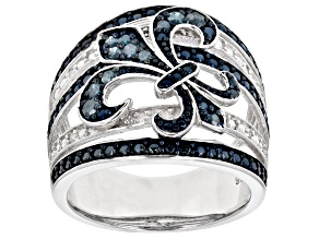 Pre-Owned Blue And White Diamond Rhodium Over Sterling Silver Ring 0.28ctw