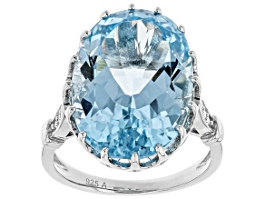 Pre-Owned Blue Topaz Rhodium Over Sterling Silver Ring 14.70ctw