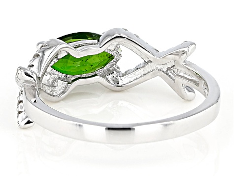 Pre-Owned Green Chrome Diopside Rhodium Over Sterling Silver Ring 1.39ctw