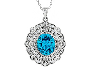 Pre-Owned Blue & White Cubic Zirconia Rhodium Over Sterling Silver Center Design Pendant With Chain