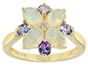 Pre-Owned Ethiopian Opal 18k Gold Over Silver Ring 1.43ctw