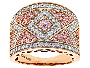 Pre-Owned Pink And White Cubic Zirconia 18k Rose Gold Over Silver Ring 2.21ctw (.95ctw DEW)