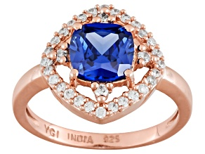 Pre-Owned Blue And White Cubic Zirconia 18k Rose Gold Over Silver Ring 2.52ctw