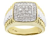 Pre-Owned White Diamond Rhodium & 14K Yellow Gold Over Sterling Silver Mens Ring 0.75ctw