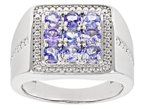 Pre-Owned Blue Tanzanite Rhodium Over Silver Gent's Ring 1.53ctw
