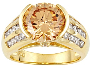 Pre-Owned Champagne And White Cubic Zirconia 18k Yellow Gold Over Silver Ring 7.56ctw