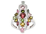 Pre-Owned Multicolor tourmaline rhodium over silver ring 2.51ctw
