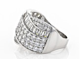 Pre-Owned White Cubic Zirconia Rhodium Over Sterling Silver Ring 4.03ctw