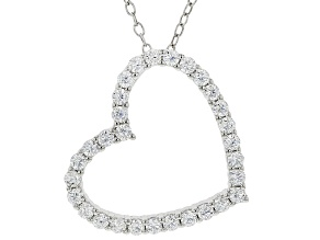 Pre-Owned White Cubic Zirconia Rhodium Over Sterling Silver Heart Pendant With Chain 0.81ctw
